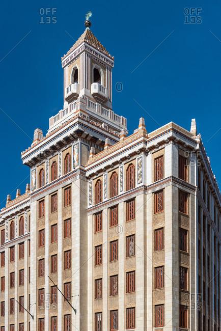 August, 23, 2019: Exterior of the 1930 Bacardi Building. Havana, Cuba
