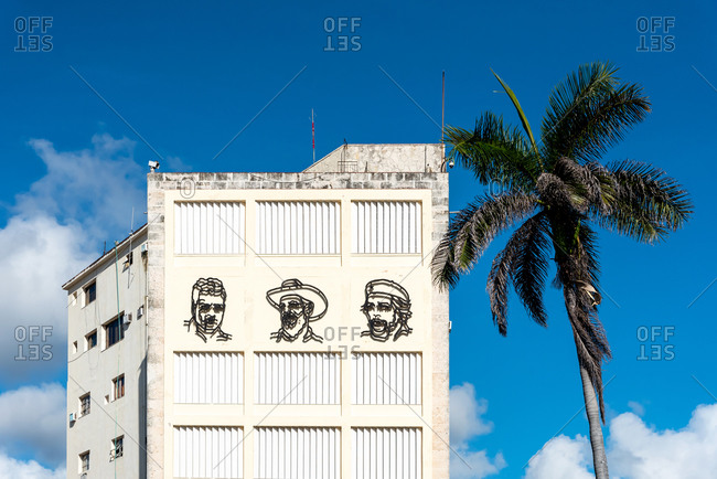 August 23, 2019: Cuban revolutionaries on a facade of old Havana. Havana, Cuba