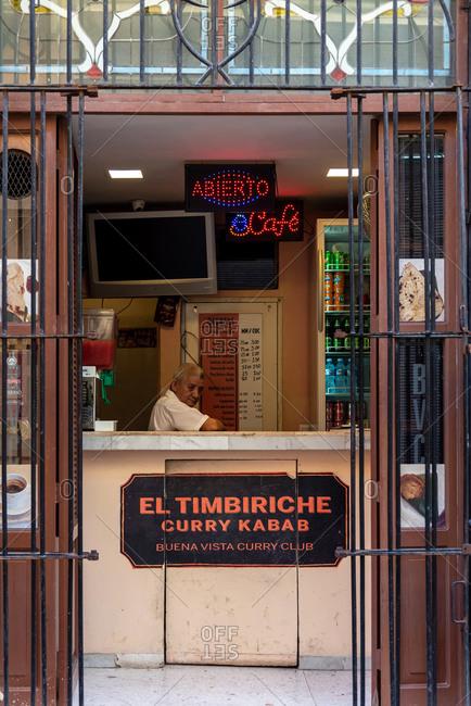 August 23, 2019: A Cuban Kebab seller. Havana, Cuba
