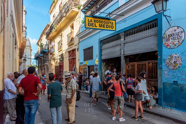 August 23, 2019: People and tourists outside La Bodeguita del Medio. Old Havana, Cuba