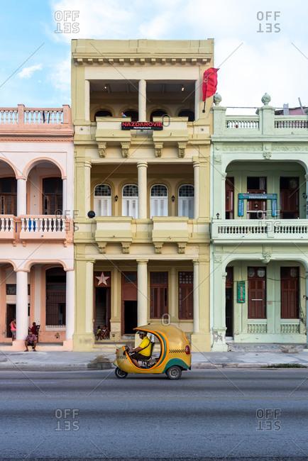 September 2, 2019: Coco taxi on the Malecon. Havana, Cuba