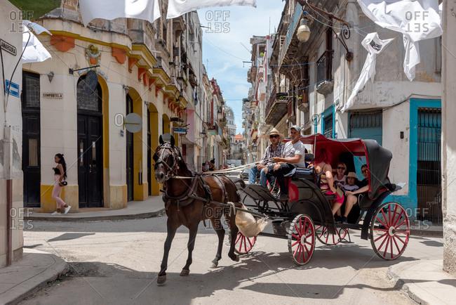 September 3, 2019: Horse carriage in the streets of Old Havana. Havana, Cuba