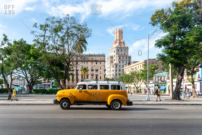 September 3, 2109: Vintage classic american bus in a street of Old Havana downtown. Havana, Cuba