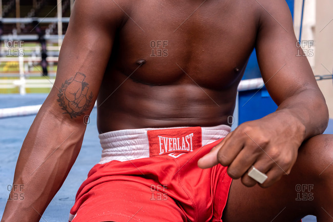 September 4, 2019: Detail of the body of a boxer in the ring. Havana Cuba