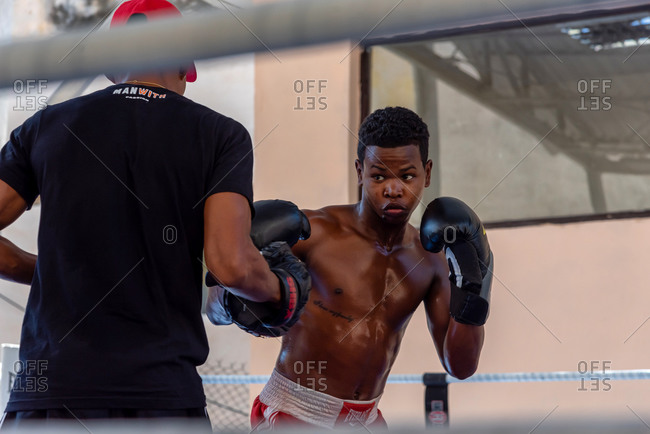 September 4, 2019: Boxers training in a boxing school with ring in Old Havana. Havana Cuba