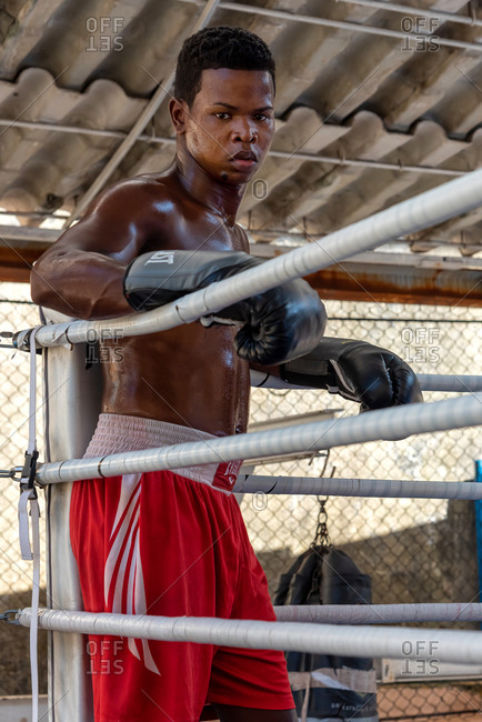September 4, 2019: Boxer sweating in a boxing school with ring. Havana, Cuba