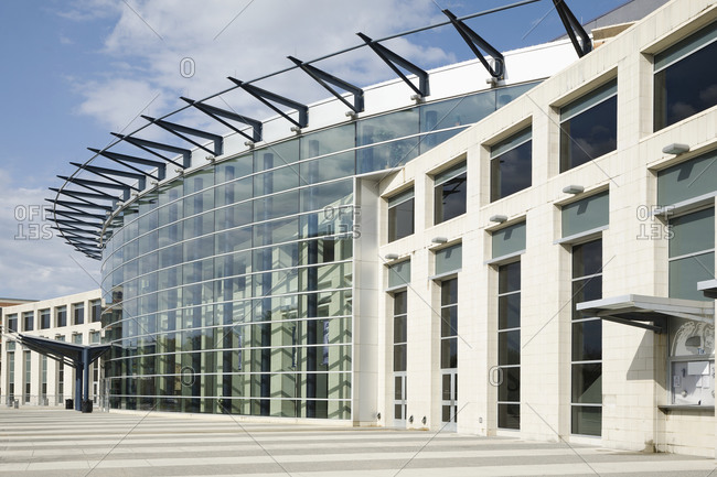 Norfolk, Virginia, United States - September 22, 2020: Glass Facade On Building with curved exterior and ticket booth