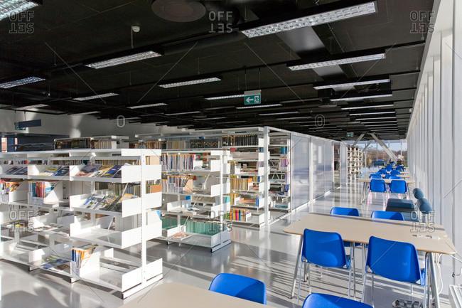 Estonia - September 22, 2020: Public Library Interior, modern building with book shelves