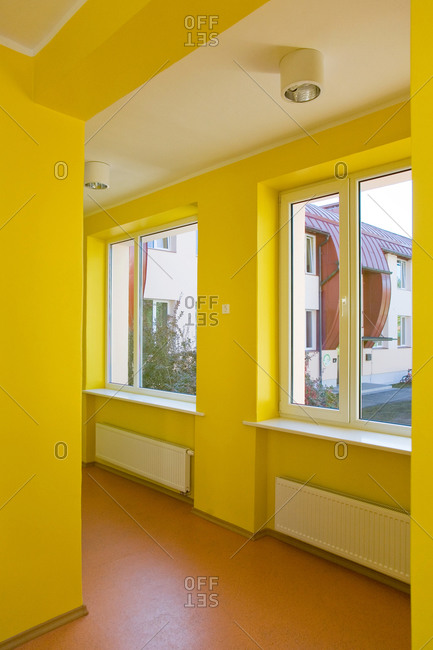 Yellow Hallway of a School