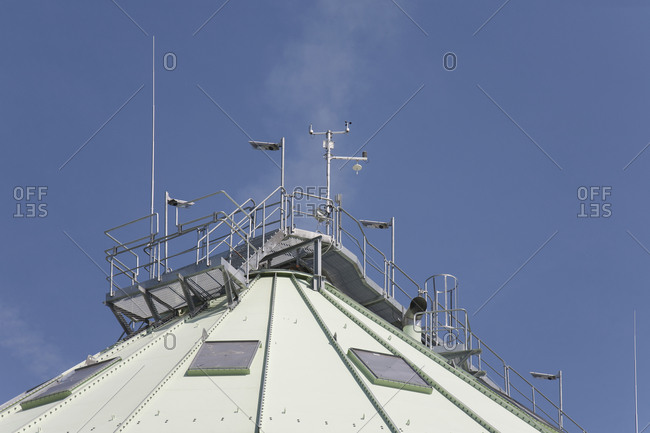Power Plant Dome, low angle view against blue sky