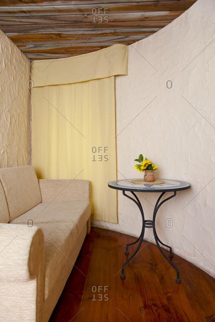 Estonia - September 22, 2020: Sofa In Sitting Room With Window
