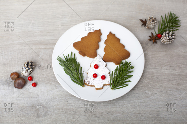 High angle close up of Christmas decorations and Christmas Tree cookies on a white plate.
