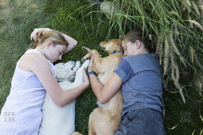 Two teenage girls lying on lawn, hugging their Golden Retriever dogs.