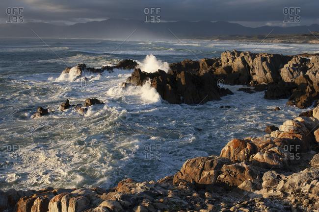 View of the rocky coast near De Kelders, South Africa.