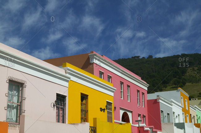 Colorful houses in the historic Bo Kaap district in central Cape Town, South Africa.