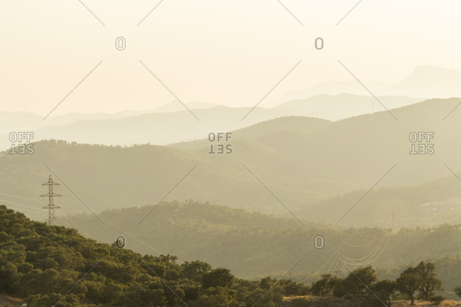 Hazy view of rows of mountains in southeastern france