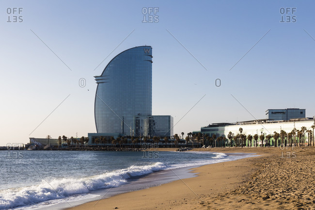 February 25, 2017: View from the beach to the hotel w Barcelona, Barcelona, Catalonia, Spain
