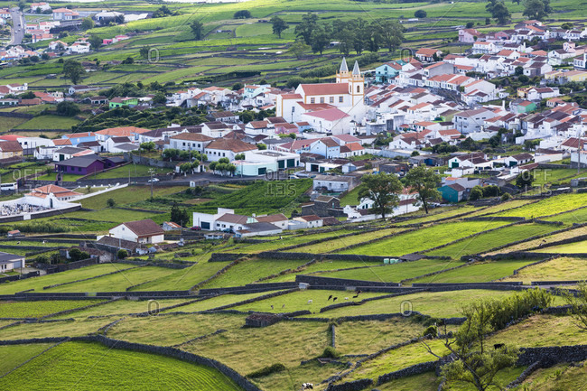 Field patterns of the agricultural landscape by the village of ribeirinha, Terceira, Azores, Portugal