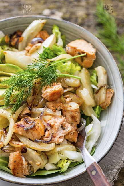 Main meal, salad bowl with salmon, oven-roasted fennel, fried onion, avocado, coconut yoghurt dressing