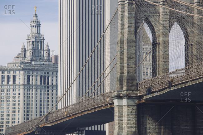 View of city hall and Brooklyn bridge in Manhattan, new York