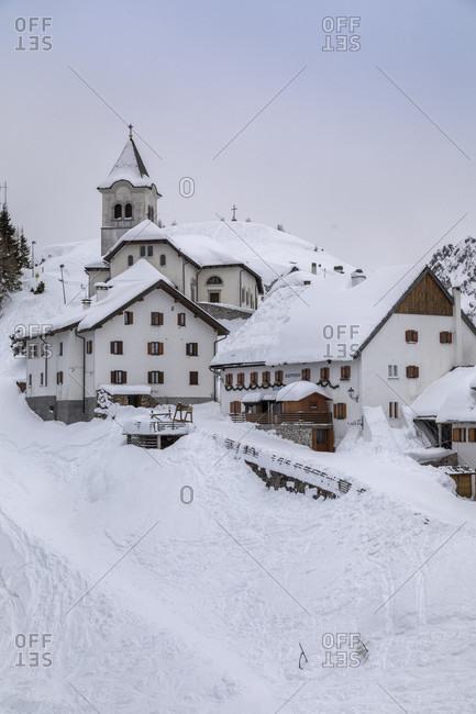 March 10, 2020: The village on mount lussari (monte santo di lussari), Julian alps, Tarvisio, Udine, Friuli Venezia giulio, italy