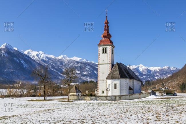 Church of the assumption of the virgin Mary (cerkev marijinega vnebovzetja) in bitnje, bohinjska bistrica, upper carniola, slovenia
