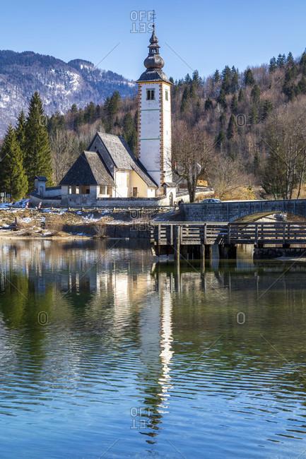 St. john the Baptist church and bohinj lake, ribbed laz, upper carniola, triglav national park, slovenia