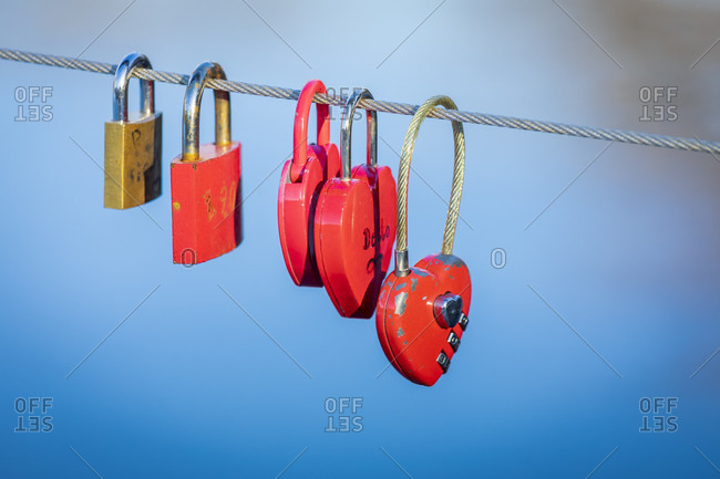 Love padlocks on a pier on the bled lake, upper carniola, slovenia, Europe