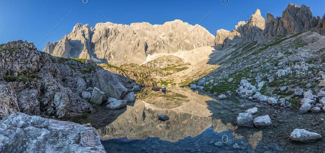 Glacial lake of popera, vallon popera, comelico superiore, auronzo comelico and sexten dolomites, belluno, veneto, italy