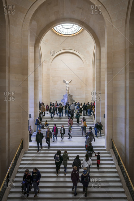 April 14, 2019: Nike from samothrace at the louvre, paris, france