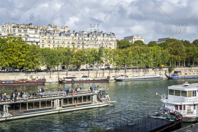 April 14, 2019: Tour boats on the seine in paris, france