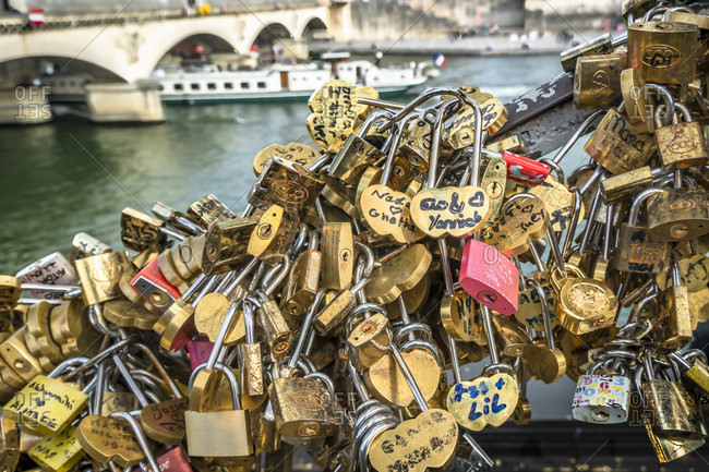 April 14, 2019: Bridge on the seine in paris, many love locks, france