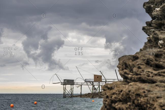 France, fishing huts on the Atlantic