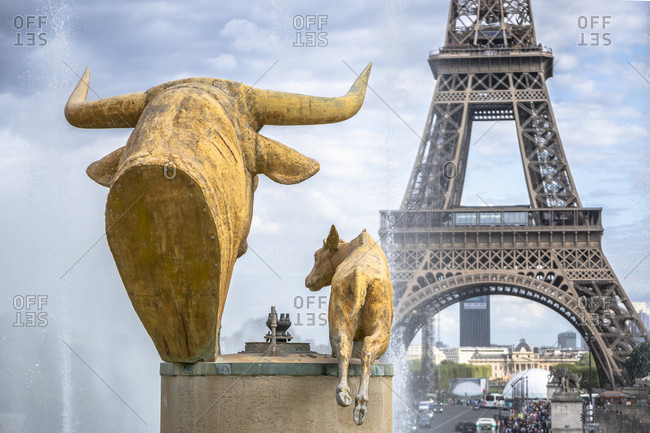April 14, 2019: Paris, Eiffel tower and sculpture, france