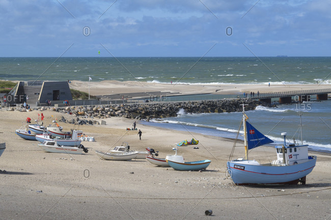 August 12, 2019: Beach with fishing boats, vorupor, national park thy, thirsted, north sea, north Jutland, Denmark