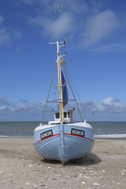 August 12, 2019: Beach with fishing boat, vorupor, national park thy, thirsted, north sea, north Jutland, Denmark