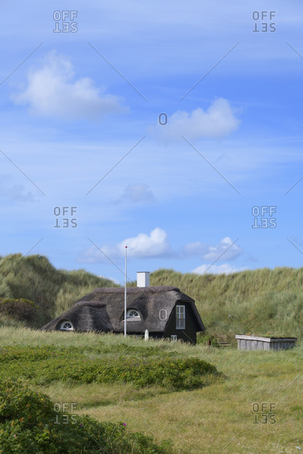 Holiday homes thatched house in the dunes, Kitzmiller, national park thy, north sea, north Jutland, Denmark