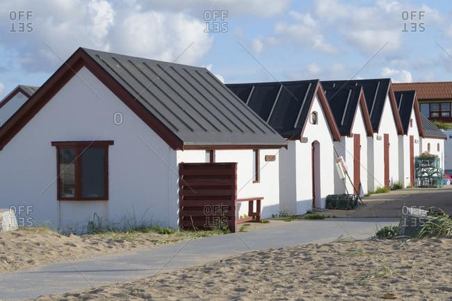Boathouses, Kitzmiller, national park thy, north sea, north Jutland, Denmark