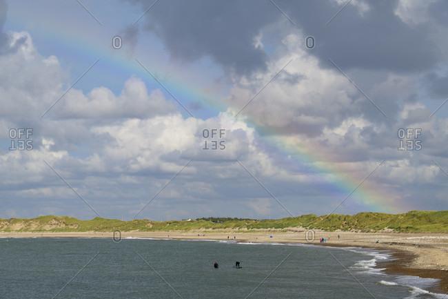 Beach with rainbow, Kitzmiller, national park thy, north sea, north Jutland, Denmark