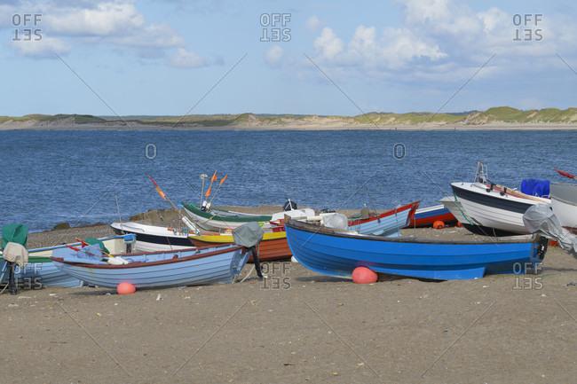 Beach with fishing boats, Kitzmiller, national park thy, north sea, north Jutland, Denmark