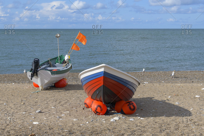August 14, 2019: Beach with fishing boats, Kitzmiller, national park thy, north sea, north Jutland, Denmark