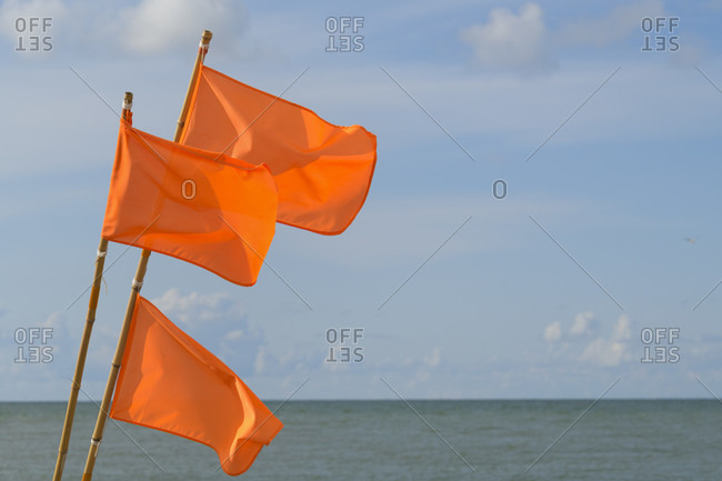 Colorful flags of buoys from a fishing boat, Kitzmiller, national park thy, north sea, north Jutland, Denmark