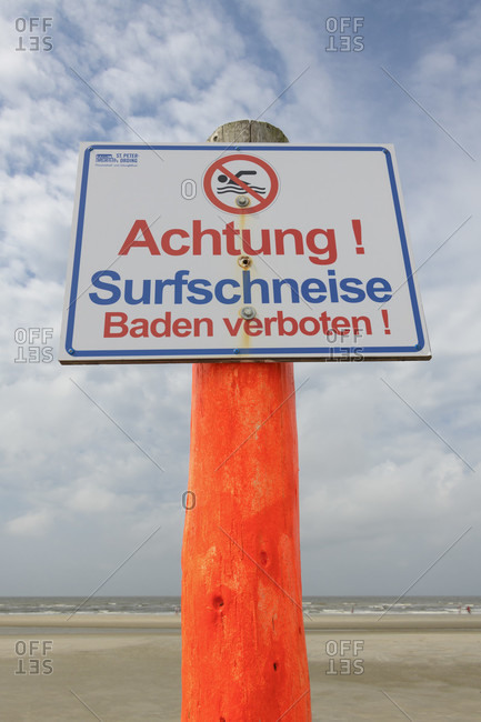 Sign surf trail and bathing prohibition, norderdeich, sankt peter-ording, north friesland, north sea, schleswig-holstein, Germany