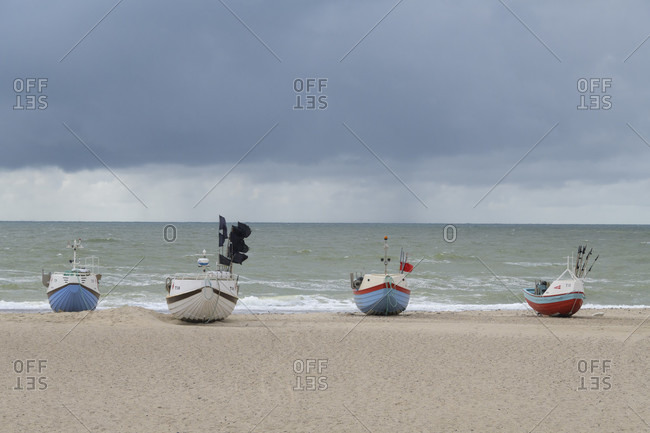 August 12, 2019: Fishing boat on beach, stenbjerg, snedsted, national park thy, north sea, north Jutland, Denmark