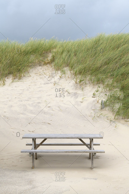 Seating group on the beach, stenbjerg, snedsted, national park thy, north sea, north Jutland, Denmark