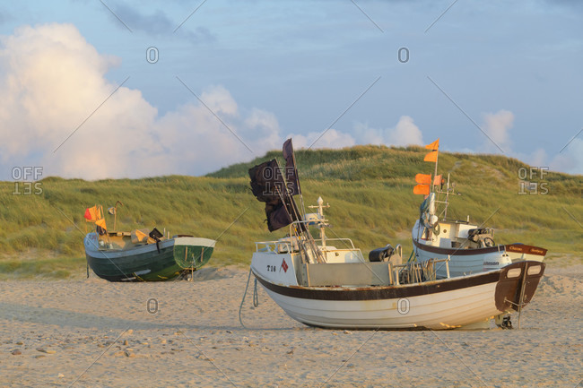 August 14, 2019: Fishing boat on beach, stenbjerg, snedsted, national park thy, north sea, north Jutland, Denmark