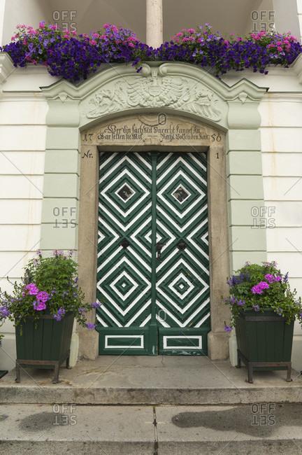 June 15, 2019: Entrance door town hall, gmunden, traunsee, upper austria, austria