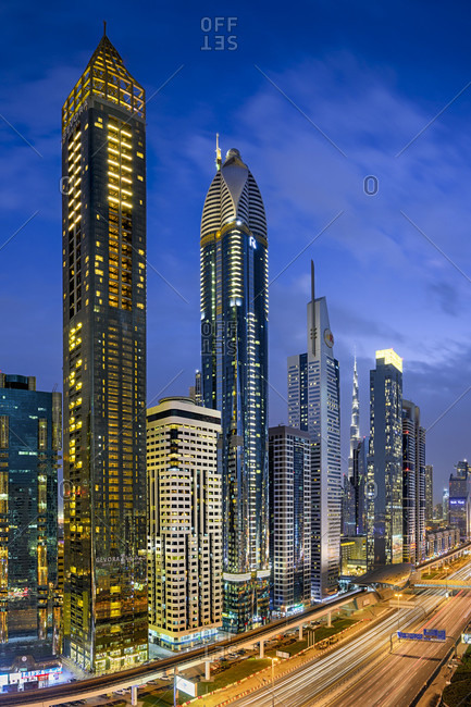 December 7, 2019: Aerial night view of the skyscrapers along the sheikh Zayed road in Dubai, uae