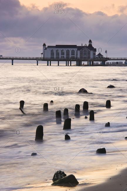 Mecklenburg western sea bridge in the baltic sea at dawn, sellin, isle of ruegen