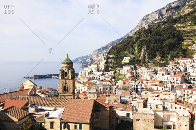 Sant andrea cathedral overlooking the city of amalfi at the mediterranean sea, unesco world heritage site